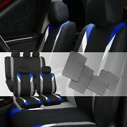 Premium Modernistic Blue Black Auto Car Seat Covers With All Weather Floor Mats