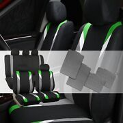 Premium Modernistic Green Black Auto Car Seat Covers With All Weather Floor Mats