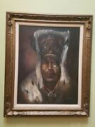 Large Vintage Original Oil Of Inuit Chief Dated And03962