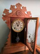 Antique Welch 8 Day Gingerbread Mantle Clock C. 1830s, Functions