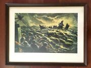 1946 Robert Benney Wwii Refueling At Sea Lithograph Print Standard Oil Co. Adv