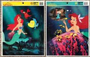 Vintage Collectible The Little Mermaid Disney Frame-tray Puzzle Lot Of 2 Golden