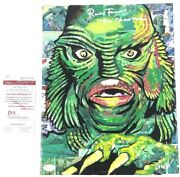 Ricou Browning Signed Artwork Comic Painting Creature From The Black Lagoon Jsa