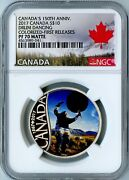 2017 Canada Ngc First Releases Pf70 Matte Silver Colorized-drum Dancing S10