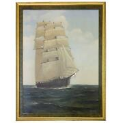 Sailing Clipper Oil On Canvas Painting By Ronald Davies
