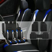 Premium Modernistic Blue Black Auto Car Seat Covers W/black Vinyl Floor Mats