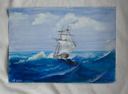 Acrylic Painting Seascape Ship In Stormy Weather