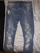 Us Men Stretchy Ripped Comfortable Skinny Jeans White Black And Blue