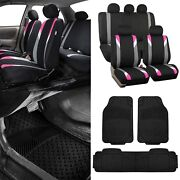 Modernistic Pink Black Auto Car Seat Covers W/black Trimmable Vinyl Floor Mats