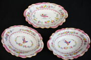 3 George Jones And Sons Crescent Ware Paradise Pink Bird Oval Serving Bowls 1915