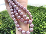 Top Luster Long 3512-13mm Real Natural South Sea Pink Purple Pearl Necklace 14k