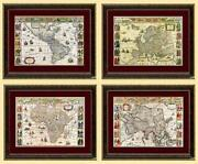 Set Of Framed Antique 15th Century World Maps Of The Continents