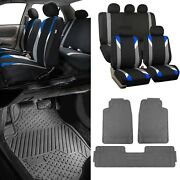 Blue/black Car Seat Covers W/ 3 Piece Heavy Duty Rubber All Weather Floors Mats