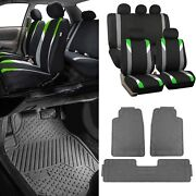 Green/black Car Seat Covers W/ 3 Piece Heavy Duty Rubber All Weather Floors Mats