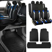 Blue/black Car Seat Covers W/ 3 Piece Heavy Duty Rubber All Weather Floor Mats