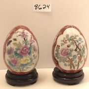 Vintage Asian Bird Decorative Cloisonne Ceramic Eggs With Wood Stands.