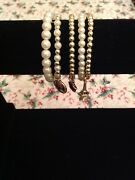 A Set Of 5 Multi-layer Bracelets, Bead And Pearl, With 3 Charms. Costume Jewellery