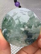 100 Natural Certified Grade A Icy Jade Green Jadeite Landscape Crafted Pendant
