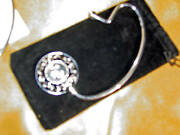 Purse Holder Hook Initials Metallic Silver Colored Embossed/carry Pouch-new