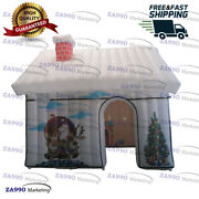13x10ft Inflatable Christmas House Santa Claus Grotto Tent With Air Blower