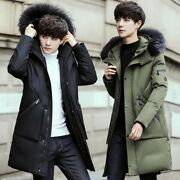 Casual Mens Winter Real Racoon Fur Collar Long Down Coat Hooded Thick Jackets