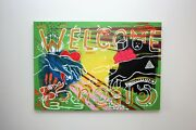 Original Modern Surrealism Art Painting On Large Canvas Welcome Circus