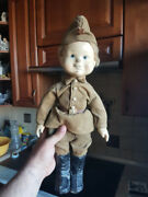 Very Rare Vtg Russian Soviet Toy Doll Of Soldiers Defender Papier-mache Ussr