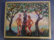 Garden Of Eden Painting By Artist Marcia Wilson 1937-2018 Leonia Nj Picasso
