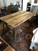 Barn Wood Table With Steel Saw Horse Legs Farmhouse Chic Table