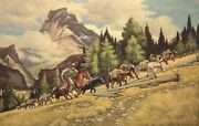 36x24 Oil Painting On Canvas Wild West Scene Genuine Hand Painted