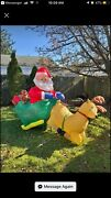 8' Gemmy Holiday Christmas Inflatable Santa W/presents, Sleigh And Reindeer 2002