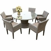 Florence 60 Outdoor Patio Dining Table With 6 Chairs With Arms In Wheat