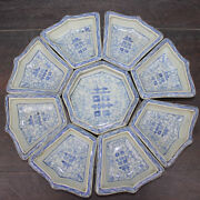 Chinese Old Set Blue And White Twined Branches Xi 囍 Pattern Porcelain Plates