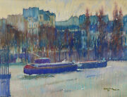 Pastel French Drawing Oil Painting Painter Spanish Barges Seine View Paris
