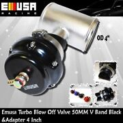 Emusa 50mm Turbo Blow Off Valve Bov V Band Black And 4 Blow Off Valve Adapter