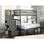 Atlantic Furniture Westbrook Staircase Bunk Twin Over Full In Gray