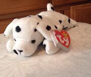 Rare 5th Line Poem 1996 Style Ty Sparky Dalmatian Dog Beanie Baby, No Star Stamp
