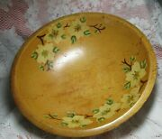 Vintage Wooden Oval By Woodcroftery Hand Painted Yellow Flowers Bowl Ball Feet