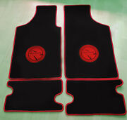 Floor Mats For Matra 530 Velours Black And Logo In Red 4-pieces