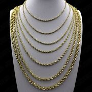 10k Solid Yellow Gold 2mm-6mm Diamond Cut Rope Chain Necklace Bracelet 16- 30
