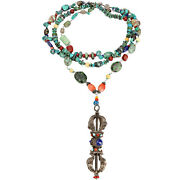 Turquoise Coral Lapis Agate And Ivory Sterling Silver Dorje Necklace