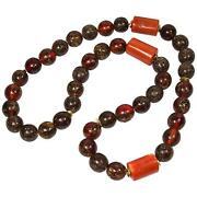 Antique Tibetan Natural Amber And Coral Bead Necklace