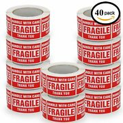 40 Rolls 500/roll 3x5 Fragile Stickers Handle With Care Shipping Mailing Labels