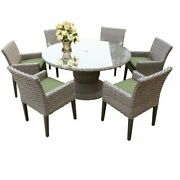 Florence 60 Outdoor Patio Dining Table With 6 Chairs With Arms In Cilantro