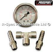 Fuel Pressure Test Gauge Kit With Inline Adaptor And 8mm Hose Tails For Pump Rail