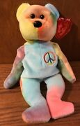Ty Peace The Bear Beanie Baby 1996 Pe Pellets No Stamp Inside Tush Tag