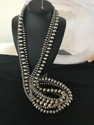 Stunning Navajo Pearls Sterling Silver Bead Necklace 60andrdquo Long 3 Strands A209