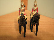 Vintage British Lifeguards Toy Soldiers Red/white/silver Mounted On Black Horses