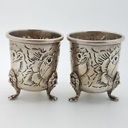 Baldwin And Miller Sterling Silver 925 Hand Chased 2 Toothpick Holder Or Cup
