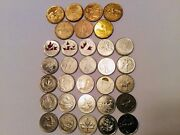 Canada 1 Loonie Coin Set7coins And Commemorative Quaters Set 25coins